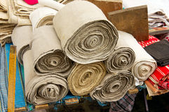 Rolls of homemade linen Stock Image