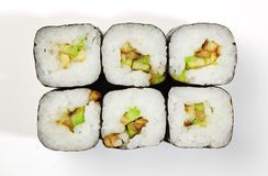 Rolls of Hosomaki with avocado, top view, white background.  Royalty Free Stock Photos