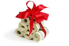 Rolls of hundreds Stock Photo