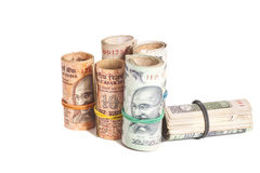 Rolls of Indian rupees Royalty Free Stock Photography