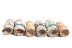 Rolls of Indian rupees Stock Images