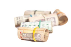 Rolls of Indian rupees Royalty Free Stock Photos