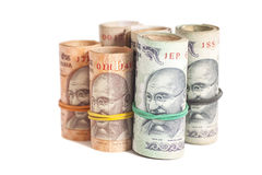 Rolls of Indian rupees Royalty Free Stock Images