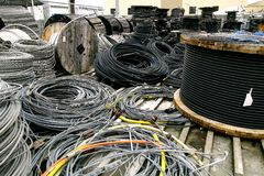 Rolls of industrial electric cable Stock Photo
