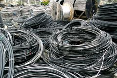 Rolls of industrial electric cable Royalty Free Stock Images