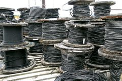 Rolls of industrial electric cable Royalty Free Stock Photography