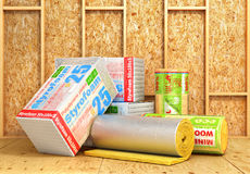 A rolls of insulation glass wool on a wood background. Insulatio Royalty Free Stock Photography