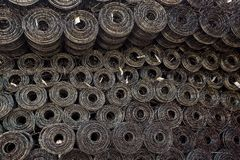 Rolls of iron mesh wire mesh use for reinforce concrete stock photo