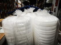 Rolls of isolation foam. Detail of rolls of isolation foam royalty free stock images