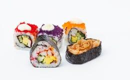 Rolls Japanese food isolated on white background Stock Photos
