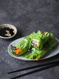 Rolls from lettuce leaf with vegetables and rice noodles and soy sauce with sesame. Vegetarian and vegan rolls with lettuce, carro. Ts, red cabbage, rice noodles stock photography