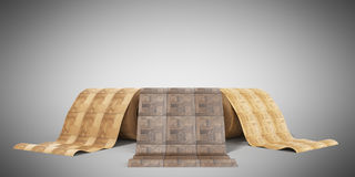 Rolls of linoleum with wood texture 3d illustration on grey Stock Photography