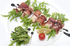Rolls of meat and greens Stock Photography