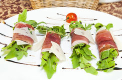 Rolls of meat and greens royalty free stock photos