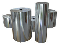 Rolls of metal foil Stock Photography