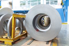 Rolls of metal sheet in factory. Rolls of metal sheet  for production in factory Royalty Free Stock Photography