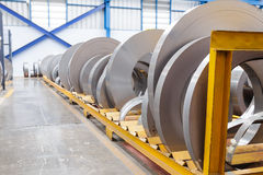 Rolls of metal sheet waiting for assembly Royalty Free Stock Image
