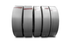 Rolls of metal sheet on white Royalty Free Stock Photos