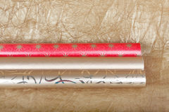 Rolls of multicolored wrapping paper for gifts Stock Photography