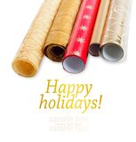 Rolls of multicolored wrapping paper for gifts Stock Photos