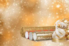 Rolls of multicolored wrapping paper for gifts with a streamer Royalty Free Stock Photo