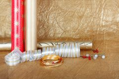 Rolls of multicolored wrapping paper with streamer for gifts Stock Photography
