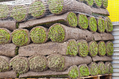 Rolls of new sod Royalty Free Stock Photography