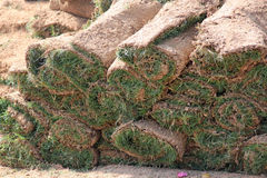 Rolls of new turf or sods Royalty Free Stock Photo