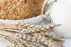 Rolls och korn med koppen av mjölkar Royaltyfria Bilder