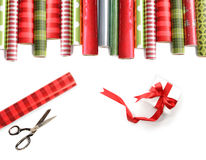 Free Rolls Of Colored Wrapping Paper On White Stock Photos - 12038783