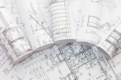 Rolls Of Engineering Drawings Royalty Free Stock Photo