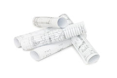 Rolls Of Engineering Drawings Stock Images