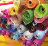 Rolls Of Fashion Material Stock Photos