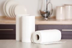 Free Rolls Of Paper Towels On Table Stock Photos - 152880553