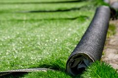 Free Rolls Of Synthetic Artificial Turf At The European Football Stadium Royalty Free Stock Photography - 171175447