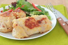 Rolls Of Turkey With Salad Stock Photography
