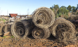 Rolls Old Fence Netting Stock Photos