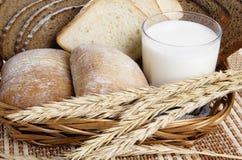 Rolls, pão e um vidro do leite Imagem de Stock Royalty Free
