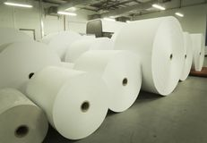 Rolls of paper in printing house Royalty Free Stock Images