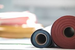 Rolls of paper for the printing production in the printing house royalty free stock image
