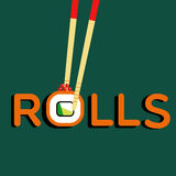 Rolls Philadelphia und Essstäbchen Stock Abbildung