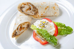 Rolls from pita bread stuffed with chicken mushroom and onion Stock Image
