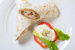 Rolls from pita bread stuffed with chicken mushroom and onion Royalty Free Stock Photo