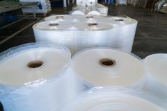 Rolls of polyethylene or polypropylene film in a warehouse royalty free stock photo