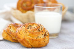 Rolls with poppy and milk Royalty Free Stock Image