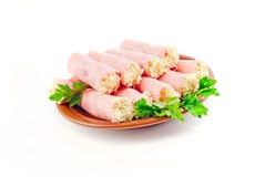 Rolls. prosciutto con formaggio Immagini Stock