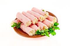 Rolls. prosciutto con formaggio Fotografia Stock Libera da Diritti