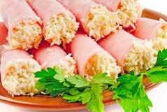 Rolls. prosciutto con formaggio Fotografie Stock Libere da Diritti