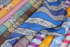 Rolls of Provencal textile Royalty Free Stock Photo