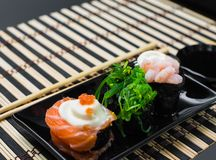 Rolls in a rectangular plate Stock Photo